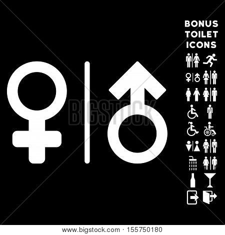 WC Gender Symbols icon and bonus man and female lavatory symbols. Vector illustration style is flat iconic symbols, white color, black background.