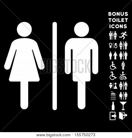 WC Persons icon and bonus gentleman and lady lavatory symbols. Vector illustration style is flat iconic symbols, white color, black background.