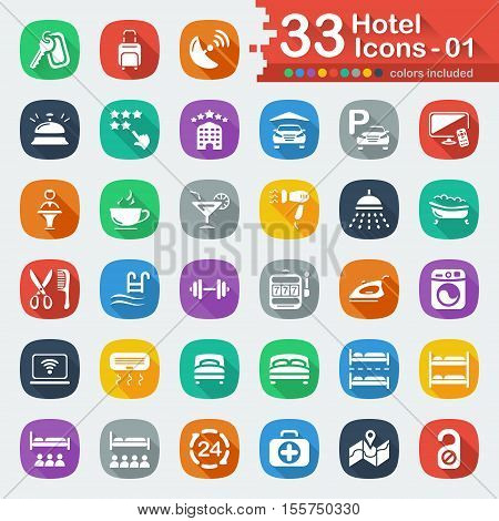 White flat hotel services icons for web and mobile