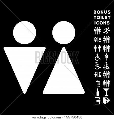 WC Persons icon and bonus gentleman and woman WC symbols. Vector illustration style is flat iconic symbols, white color, black background.