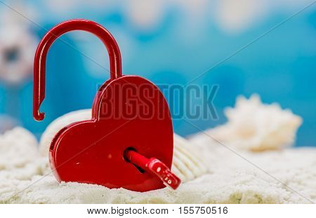 red heart key on the beach, Valentine and Sweetest