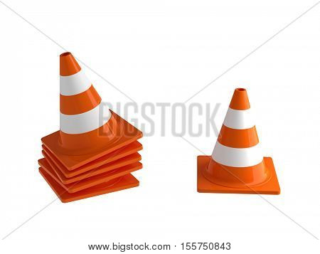 traffic cone 3d rendering on white