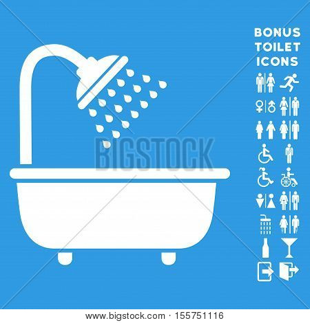 Bath Shower icon and bonus male and woman lavatory symbols. Vector illustration style is flat iconic symbols, white color, blue background.