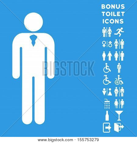 Gentleman icon and bonus gentleman and female WC symbols. Vector illustration style is flat iconic symbols, white color, blue background.