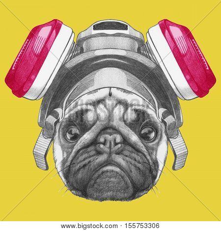 Portrait of Pug Dog with gas mask. Hand drawn illustration.