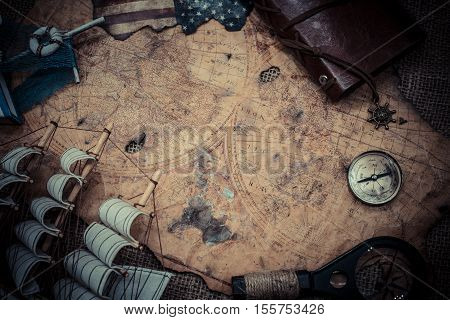 Columbus day and old world map background