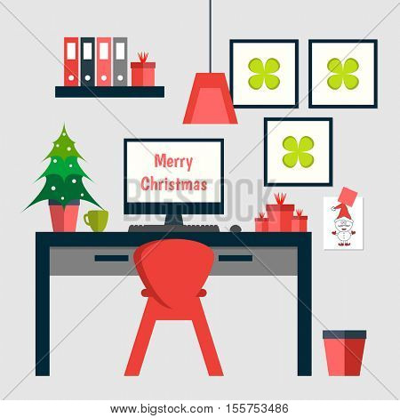Flat design of trendy home office with Christmas decorations.