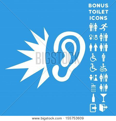 Listen Loud Sound icon and bonus male and woman WC symbols. Vector illustration style is flat iconic symbols, white color, blue background.