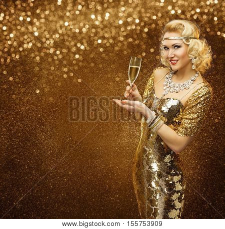 Vip Woman with Champagne Glass Celebrating Holiday Party Retro Lady in Rich Gold Dress Sparkling Diamonds Necklace
