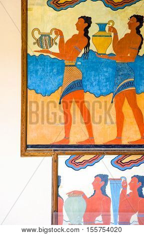 Crete, Greece - June 14, 2006: The wall paintings in the archaeological site of the Knosso palace