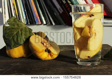 Water with fresh quince. healthy diet drink