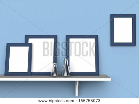 Mockup Of Blank Three Picture Frames On A Shelf. 3D Illustration
