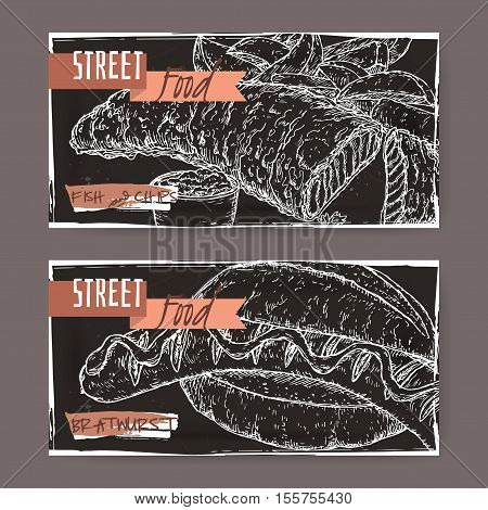 Set of two landscape banners with fish, chips and bratwurst on grunge black background. British and German cuisine. Street food series. Great for market, restaurant, cafe, food label design.
