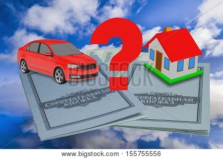 Passbooks, car and house - -a concept choice
