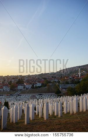 Islamic Graves At Sunny Landscape