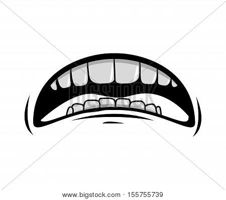 silhouette of cartoon mouth with teeths with sad expression over white background. vector illustration