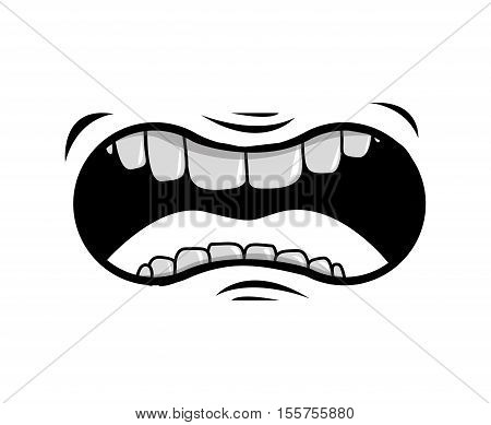 cartoon mouth with teeths with angry expression over white background. vector illustration