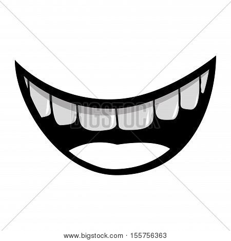 silhouette of cartoon mouth with teeths with happy expression over white background. vector illustration