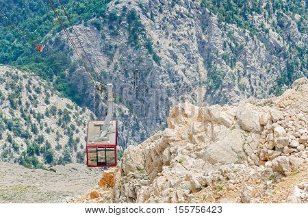 Cabin of Ropeway to Mount Tahtali (Olympos) Turkey Kemer. Olympos Teleferik