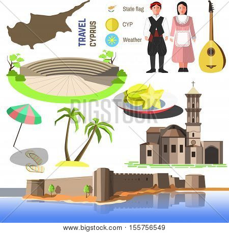 Set of Cyprus symbols and landmarks. Flat vector illustrations. Country symbols map, Church Saint Lazarus, Paphos Park and Kyrenia Castle, cypriots and bouzouki, sea beach, umbrella and palm trees.