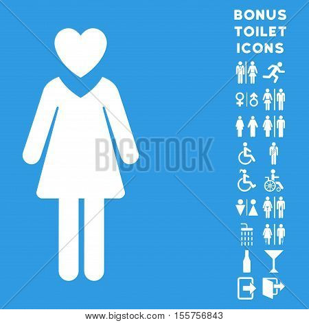 Mistress icon and bonus male and female toilet symbols. Vector illustration style is flat iconic symbols, white color, blue background.
