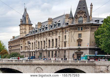 PARIS, FRANCE, circa april 2016Partial view of the Saint Michel bridge from the quai Saint Michel, on the right the Police Prefecture of Paris