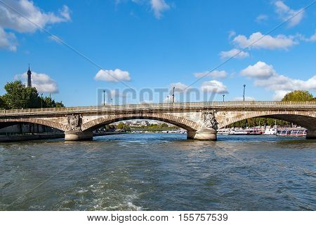 PARIS, FRANCE- circa april 2016. Lena bridge, Between the Trocadero Square and the Eiffel Tower on the River Seine