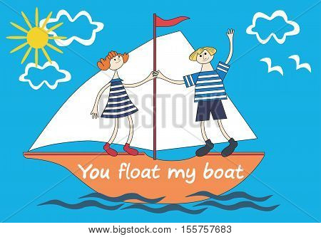 Romantic gift card in cute cartoon with couple in boat. Flat pastel colors in nautical style. You float my boat. Design element for postcard, decoration, souvenir, celebration. Vector illustration.