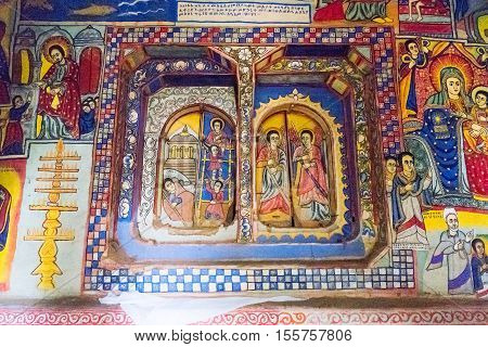 Bahir Dar, Ethiopia - January 17, 2016: The medieval holy paintings of the Betremariam Ortodox monastery