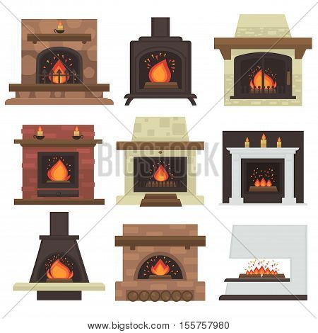Vector set of home fireplaces with fire. Different fireplaces wood burning and electric, coal and gas, bio-fuel stove. Flat icon design. Illustration isolated on white background.