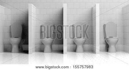 A 3d rendering group of water closets open door