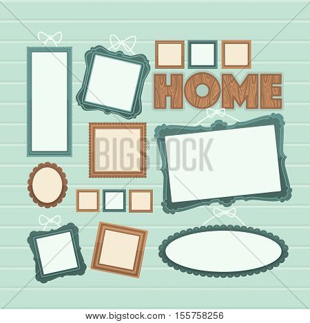 Picture frame vector. Photo art gallery composition on a wall. Flat illustration.