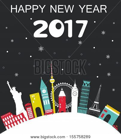 Happy New Year 2017 Travel background. Christmas decoration