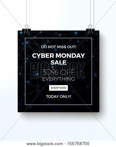 Cyber monday concept design for banner, flyer and advertisement, vector illustration.
