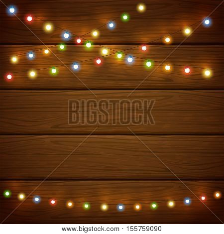 Christmas light on wooden background, holiday decorations with colorful lights, illustration.