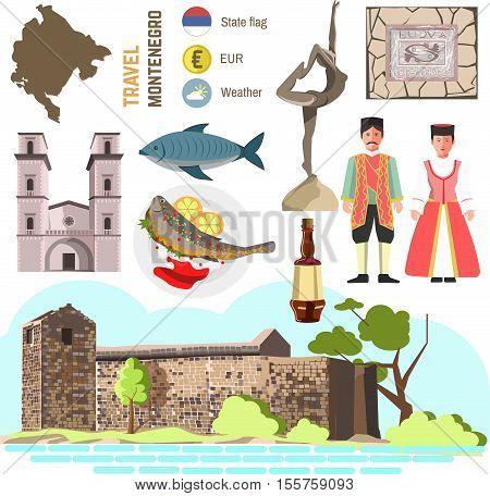 Montenegro culture symbol set. Europe Travel Montenegro direction. Vector icons. Flat isolated illustration