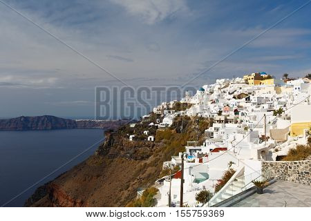 View of Imerovigli village on Santorini island.