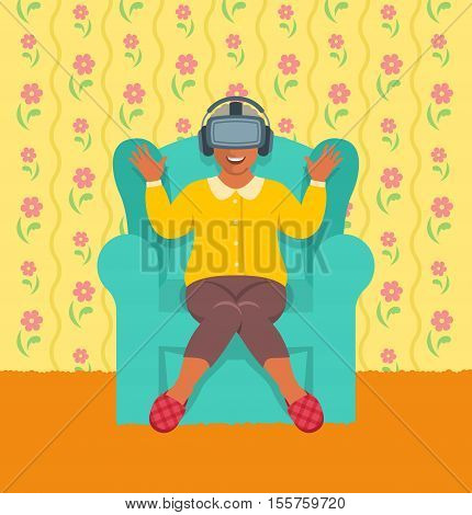 Elderly african woman wearing virtual reality glasses. Old lady put on VR headset sitting in chair at home. Vector cartoon. Granny playing augmented reality video game. Modern seniors activity