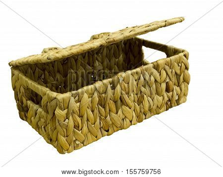 Decorative wicker basket with lid isolated on white background.