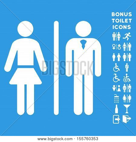 Toilet Persons icon and bonus gentleman and female WC symbols. Vector illustration style is flat iconic symbols, white color, blue background.
