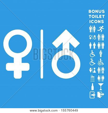WC Gender Symbols icon and bonus man and female WC symbols. Vector illustration style is flat iconic symbols, white color, blue background.