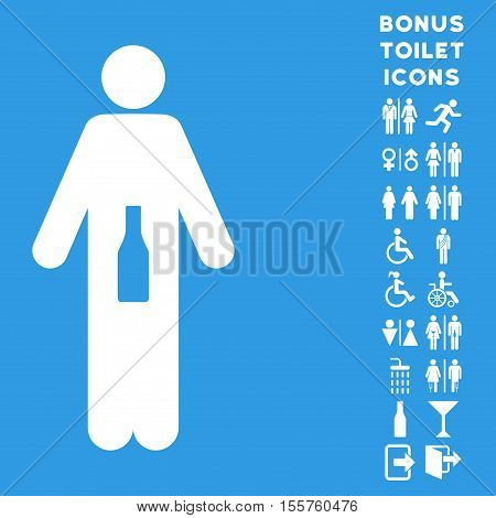 WC Man icon and bonus gentleman and female WC symbols. Vector illustration style is flat iconic symbols, white color, blue background.