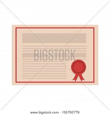 academic certificate with red seal stam icon over white background. vector illustration