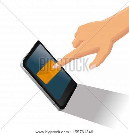 Smartphone and sms icon. Email message marketing media and communication theme. Isolated design. Vector illustration