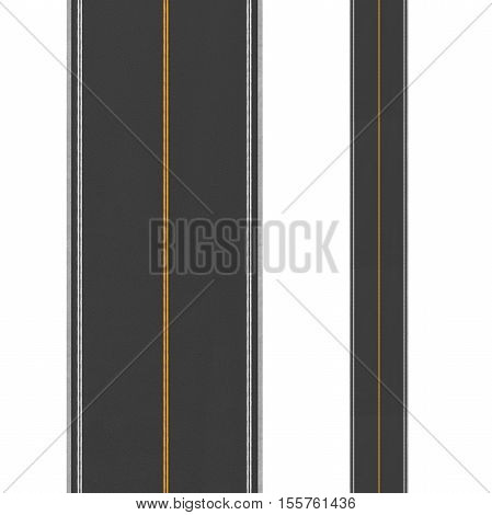 3d rendering of top view of a two-way road on a white background. Road markings and sighns. Change of direction. New horizons and opportunities. An unfamiliar path. Make a hairpin turn.