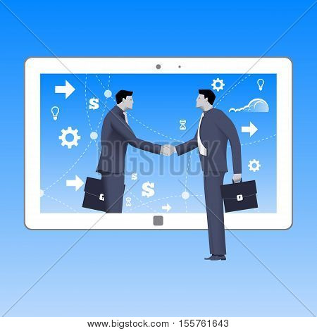 Internet deal business concept. Confident businessmen shakes hand of another businessman that comes from tablet. Business in web or cloud partnership searching for opportunities