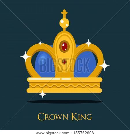 Pope triada or kings crown, golden monarch symbol. Vintage queen or old princess, prince crown illustration. May be used for heraldic crown symbol or victorian historical crown theme