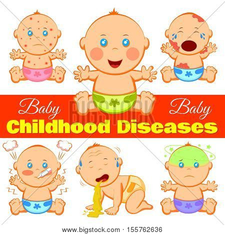 Baby childhood diseases background with cartoon  children characters suffering from various diseases and editable title line vector illustration