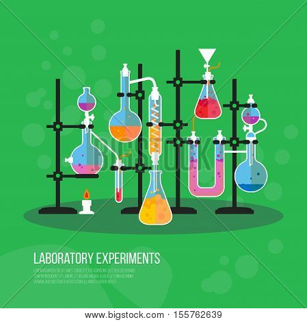 Science or chemistry lab or laboratory with glassware flasks or tubes. May be used for school chemistry test or experiment, chemical research, biology or chemical equipment for laboratory or lab theme