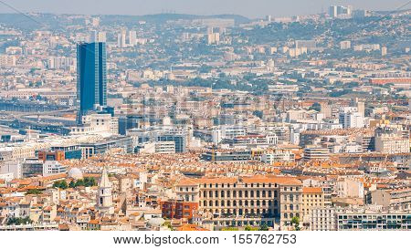 Marseille, France  - June 30, 2015: Panorama, aerial view, cityscape of Marseille, France. Sunny summer day with bright blue sky.